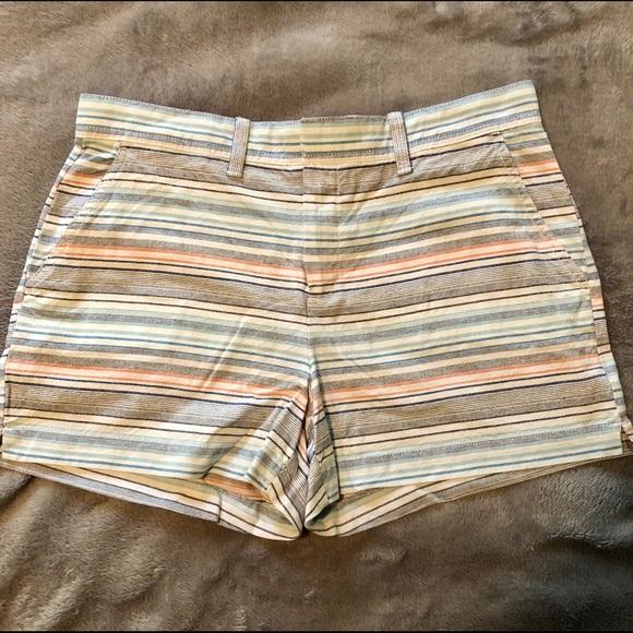 striped blue Gap high rise shorts